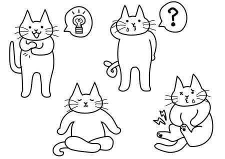 モノクロのかわいい猫のセット  イラスト・ベクター素材