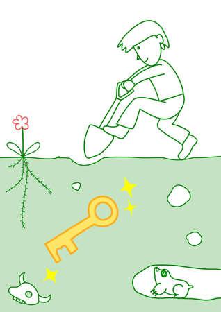 gold shovel: dig up the key Illustration