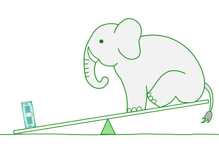 seesaw, money is heavier than elephant Vector