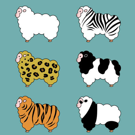 variations set: Sheep, fur variations, set