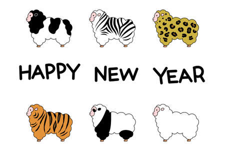 Sheep, new year card, fur variations Vector