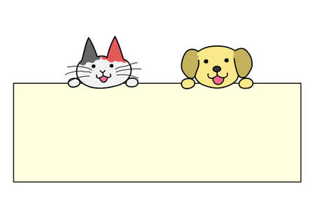 smile close up: Dogs and cats with board Illustration