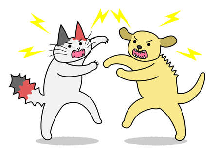 scratching: Cat and dog fighting