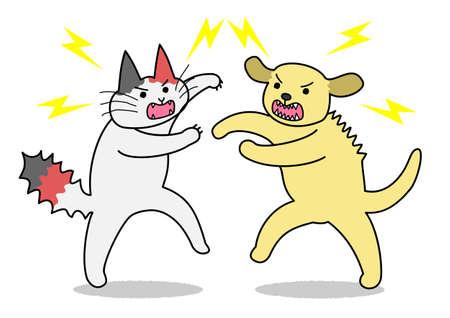 fighting dog: Gatto e cane da combattimento