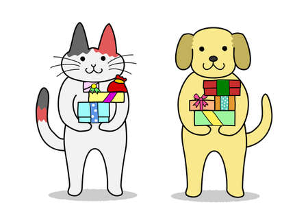 cat and dog hording gifts Vector