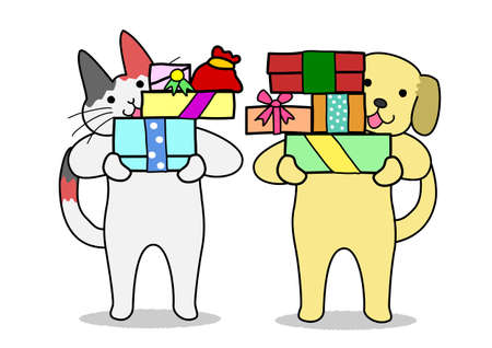 labrador christmas: cat and dog holding out gifts