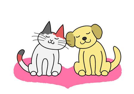 犬と猫の頬に
