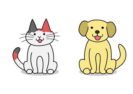 犬し、猫のお座り  イラスト・ベクター素材