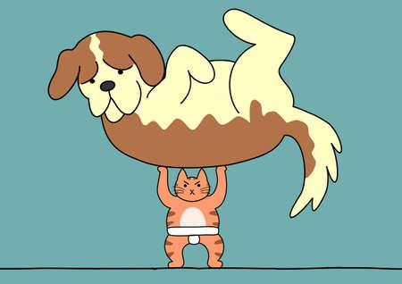 surprising: Sumo cat lifts the dog Illustration