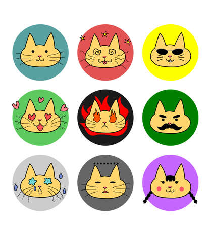 variations: Cat face variations, cartoon-style Illustration