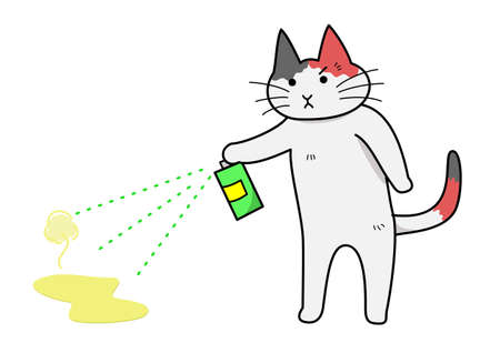 cat spraying deodorant Illustration
