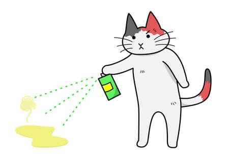 clumsiness: cat spraying deodorant Illustration