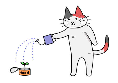 bipedal: Cat growing flowers in cans
