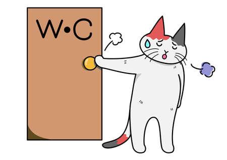diarrea: Cat suspirando del inodoro