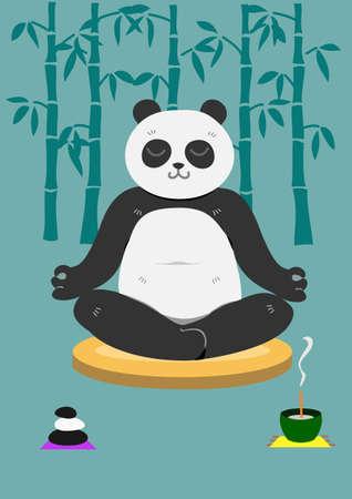 パンダの瞑想  イラスト・ベクター素材