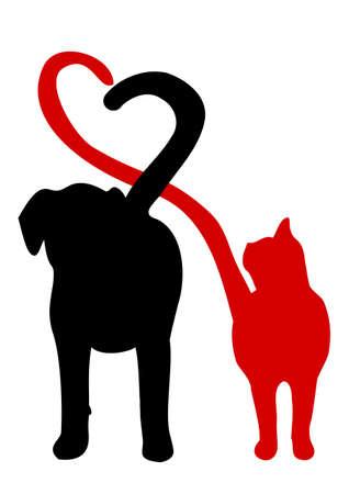 negro: Perro y gato silueta haciendo un corazón en la cola