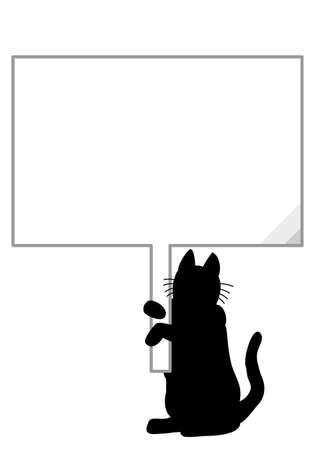 ボードで猫シルエット  イラスト・ベクター素材