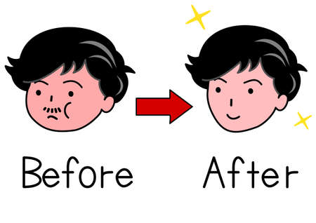 before: Face of man before and after Shape up