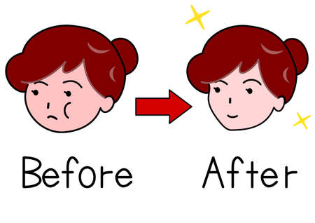 before: Face of woman before and after Shape up
