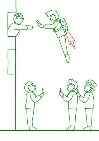 outwit: Businessman outwit rivals Illustration