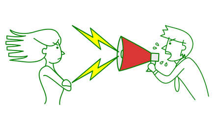 rebellious woman and man bellow with megaphone Illustration