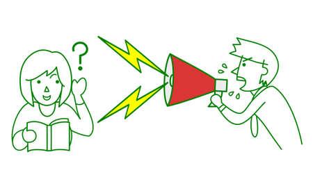 ignoring: Woman ignoring man complaining Illustration