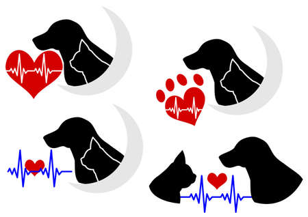 dog and cat silhouette with Electrocardiogram