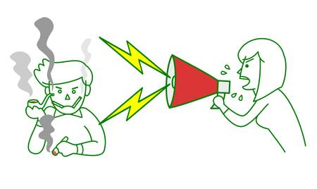 bellow: Woman bellow with megaphone to heavy smoker Illustration