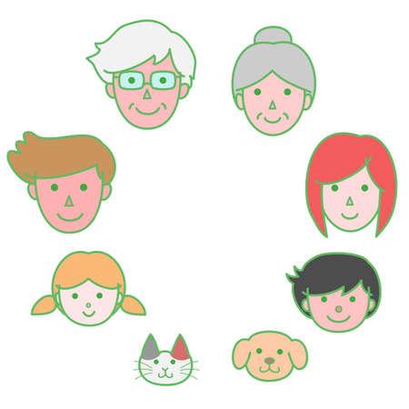 three generations: Family circle Illustration