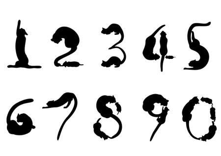 Number of cat silhouette Stock Illustratie
