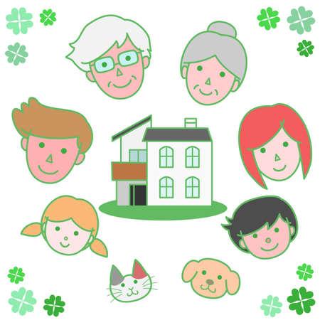 circundante: Fam�lia em torno do Minha Casa