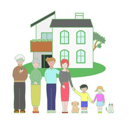 three generations: three generation family and a house