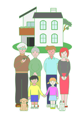front porch: three generation family and a house
