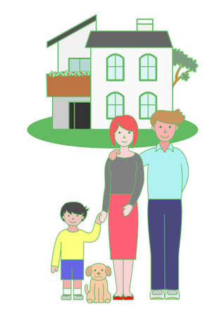 front porch: parents and a child and a house