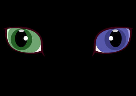 both: green and blue Odd-eyed Illustration