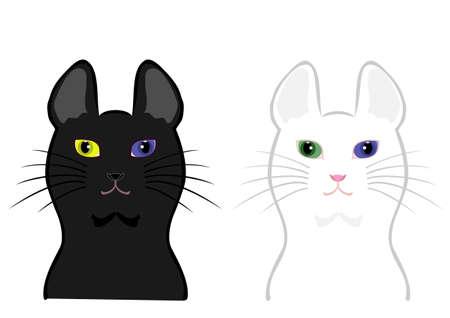 Odd-eyed cat face Vector