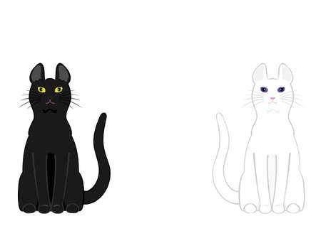 黒い猫と白い猫