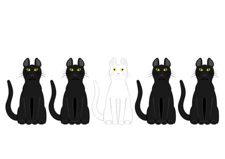 ostracized: White cat in black cats Illustration