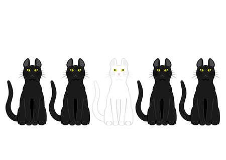 heterogeneous: White cat in black cats Illustration
