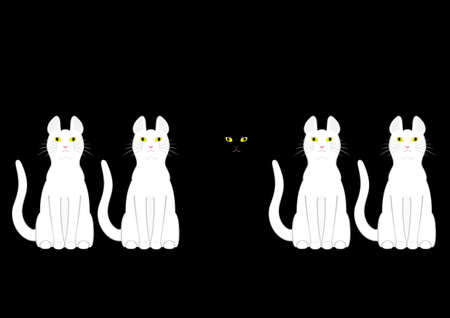 ostracized: black cat in white cats