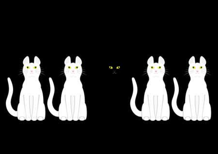 heterogeneous: black cat in white cats
