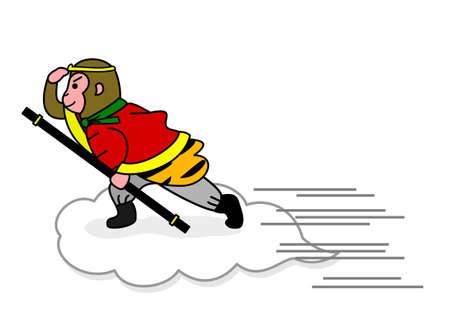 flying monkey: monkey flying on a cloud