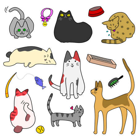 hand line fishing: set of Cute cats and goods