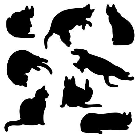 cat grooming: cat silhouette set