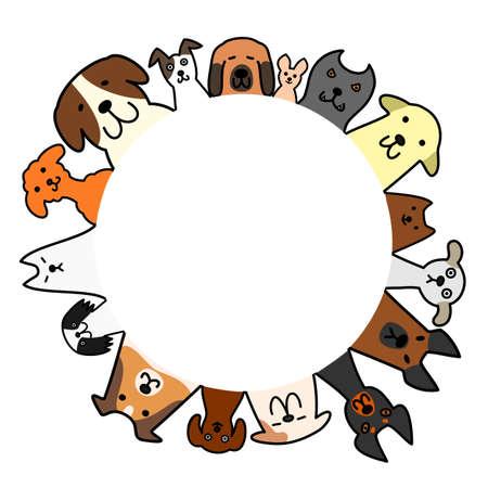 コピー スペース、円で犬  イラスト・ベクター素材