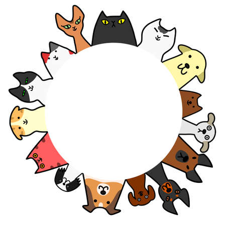 dogs & cats circle with copy space