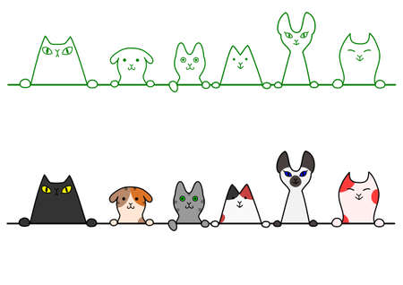 in a row: Cats in a row with copy space Illustration