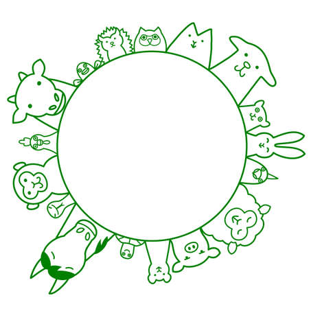 livestock: Pets and livestock circle with copy space