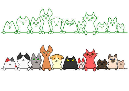 Cats in a row with copy space Иллюстрация