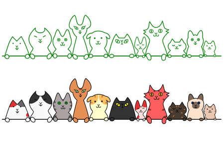 Katten in een rij met een kopie ruimte Stock Illustratie